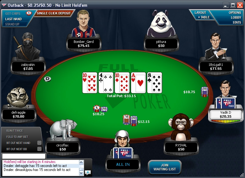 Full Tilt Poker Login Screen