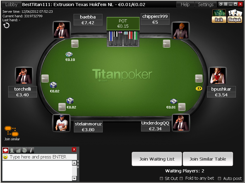 TitanPoker table preview